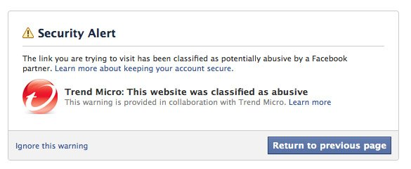 Trend Micro warning on Facebookon-Facebook